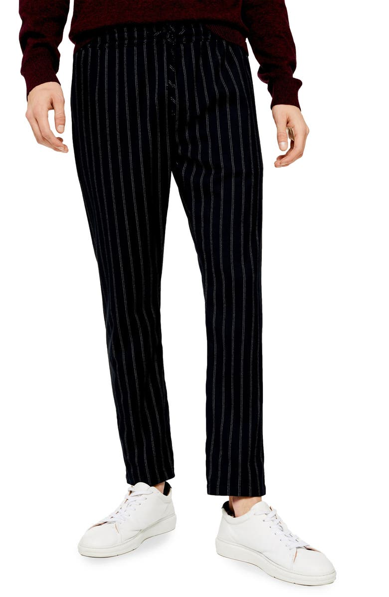 TOPMAN Skinny Fit Pinstripe Stretch Jogger Pants, Main, color, NAVY BLUE