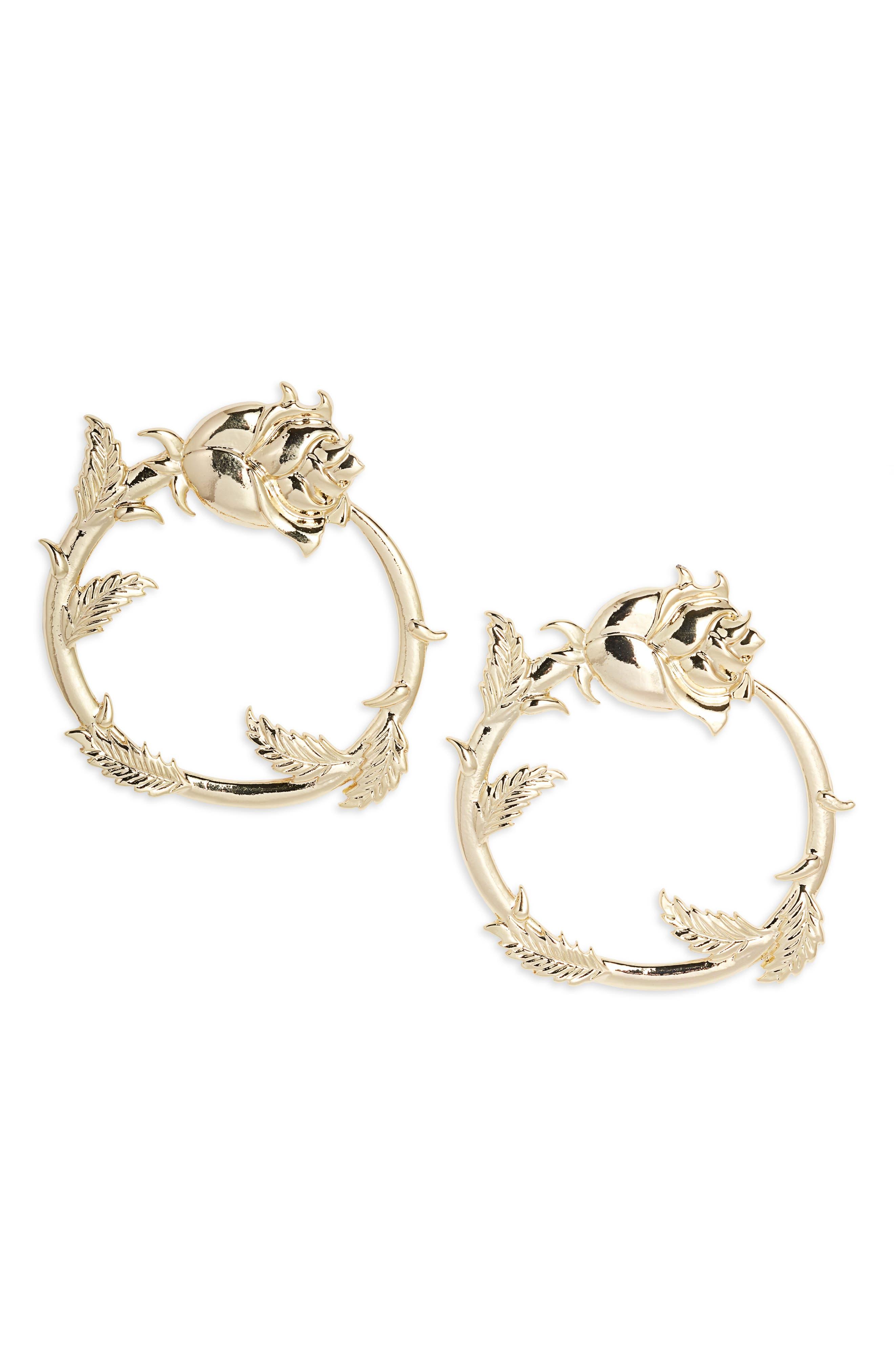 Long Stem Rose Hoop Earrings