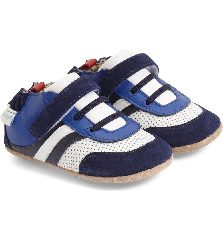 ROBEEZ<SUP>®</SUP> 'Everyday Ethan' Crib Shoe, Main, color, BLUE