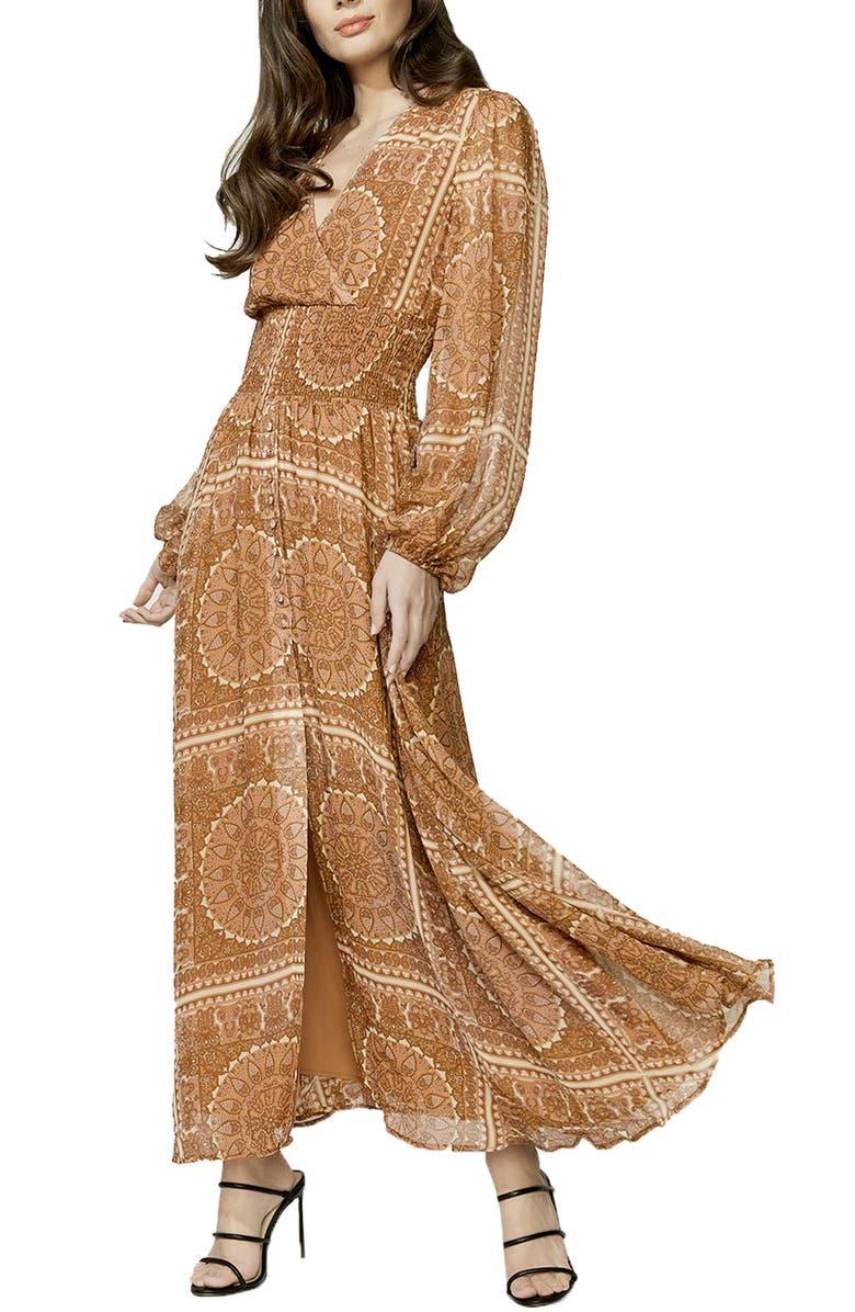 BARDOT Mara Long Sleeve Maxi Dress, Main, color, 242