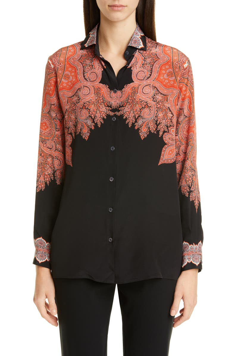 ETRO Signature Paisley Silk Blouse, Main, color, 001