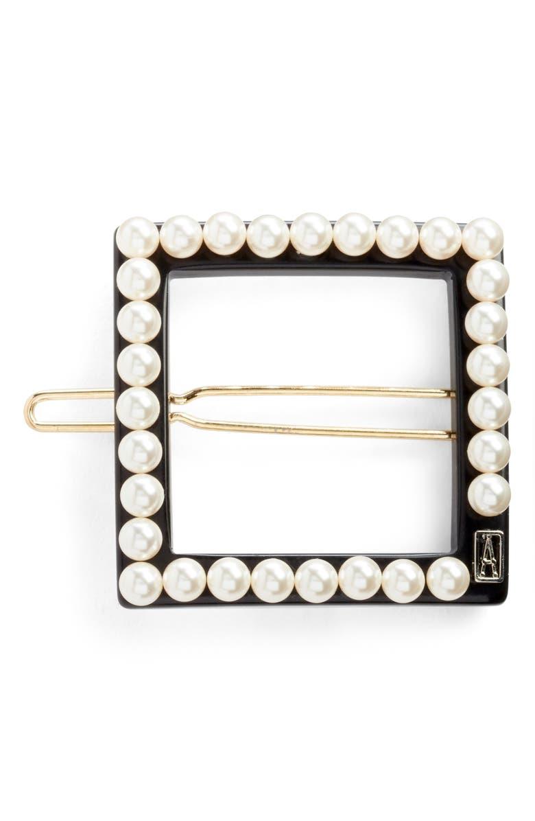 ALEXANDRE DE PARIS Imitation Pearl Embellished Barrette, Main, color, BLACK