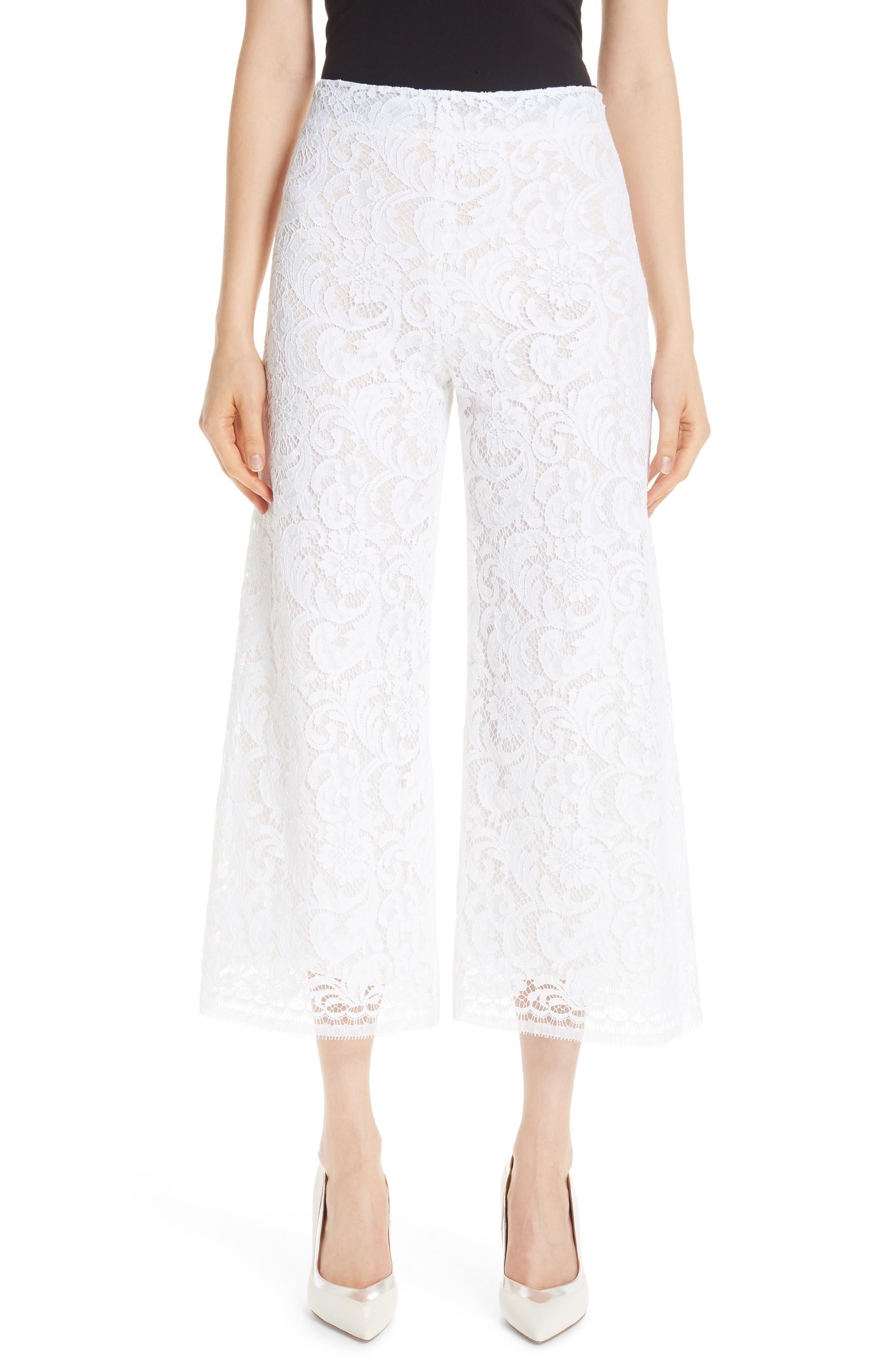 women's adam lippes lace crop wide leg pants, size 10 - white