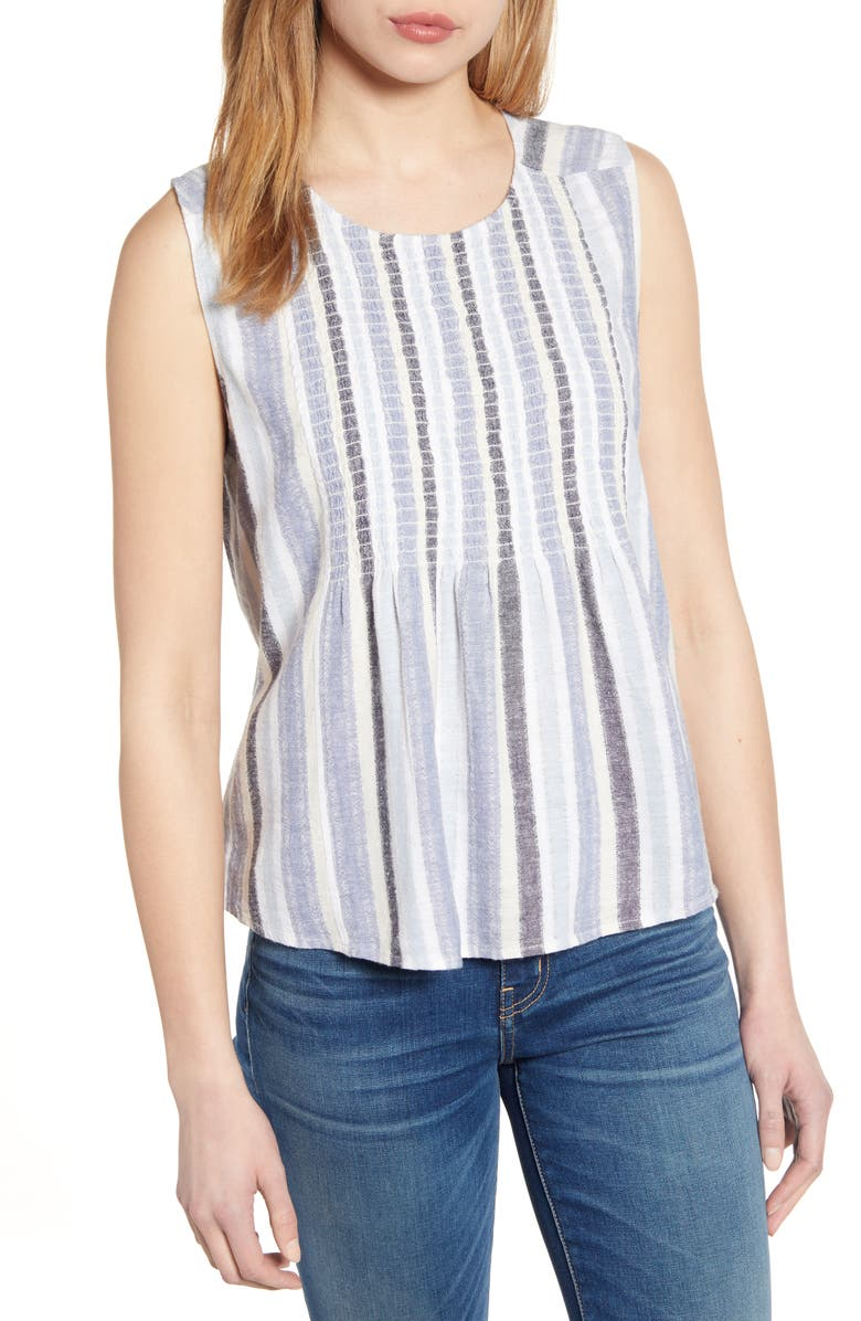 CASLON<SUP>®</SUP> Smocked Bib Stripe Tank Top, Main, color, BLUE ERIN STRIPE