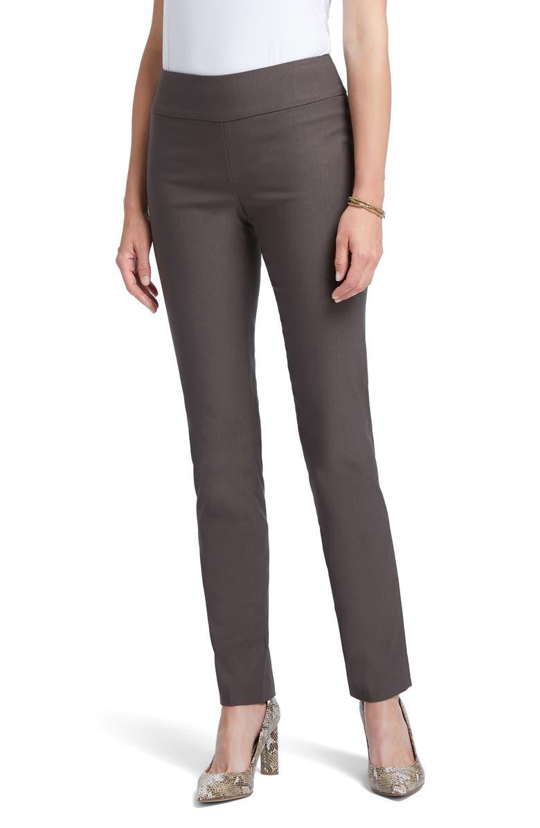 NIC+ZOE Wonderstretch Straight Leg Pants, Main, color, DARK TRUFFLE