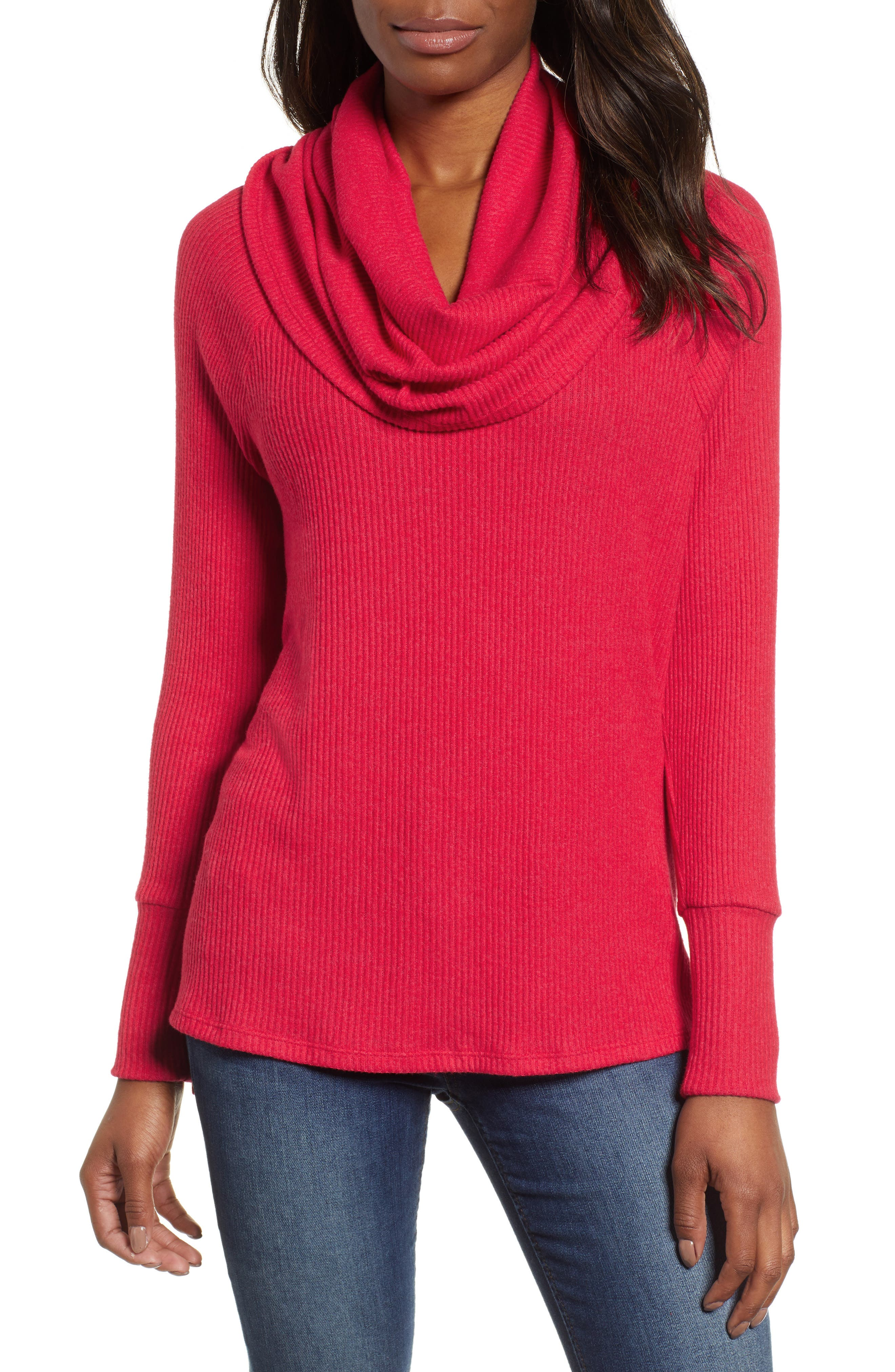Petite Gibson X Living In Yellow Ribbed Cowl Neck Sweater, Red