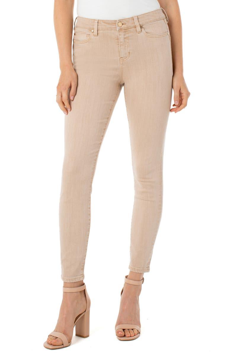 LIVERPOOL Piper Hugger Skinny Jeans, Main, color, PANAMA TAN