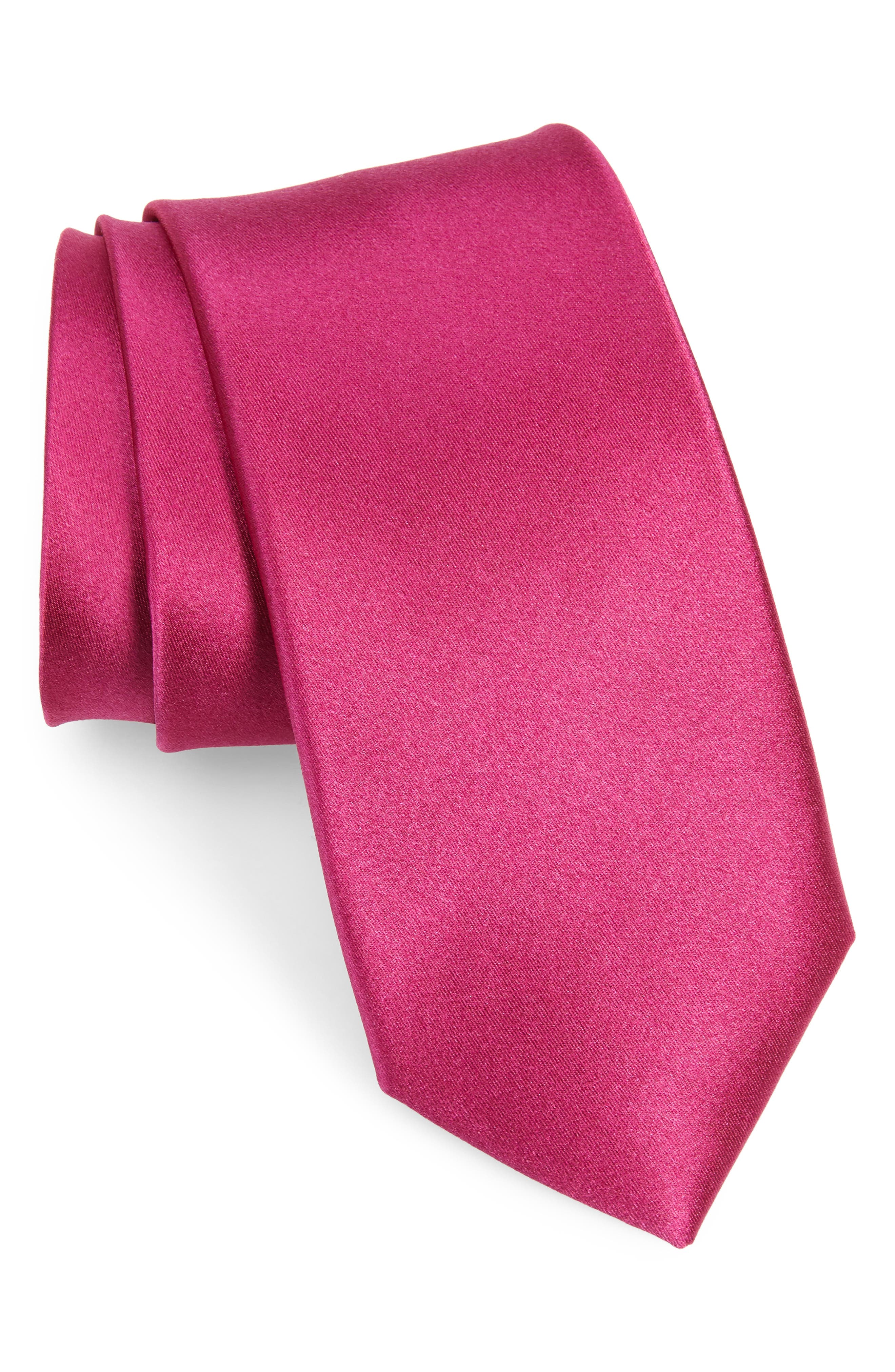 A tasteful satin shine defines a handsome tie cut from pure silk. Style Name: Nordstrom Men\\\'s Shop Solid Silk Tie. Style Number: 5933176 2. Available in stores.