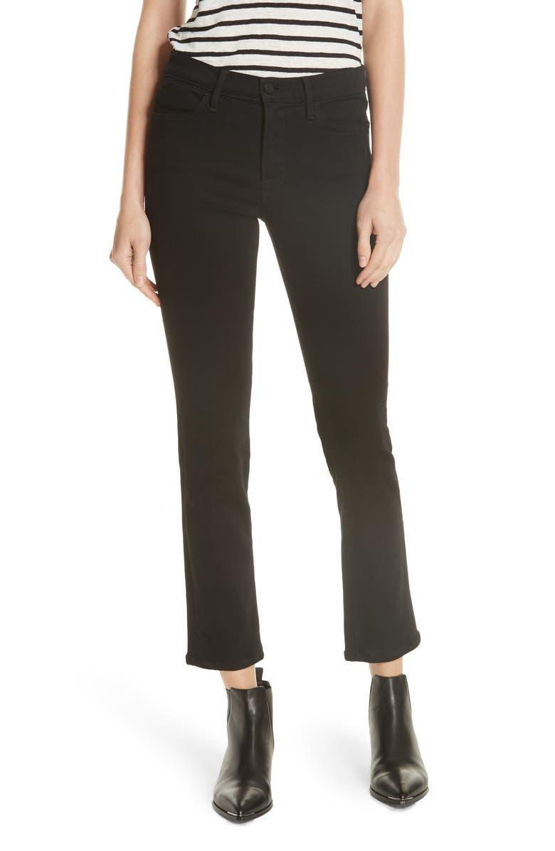 FRAME 'Le High Straight' High Rise Crop Jeans, Main, color, FILM NOIR