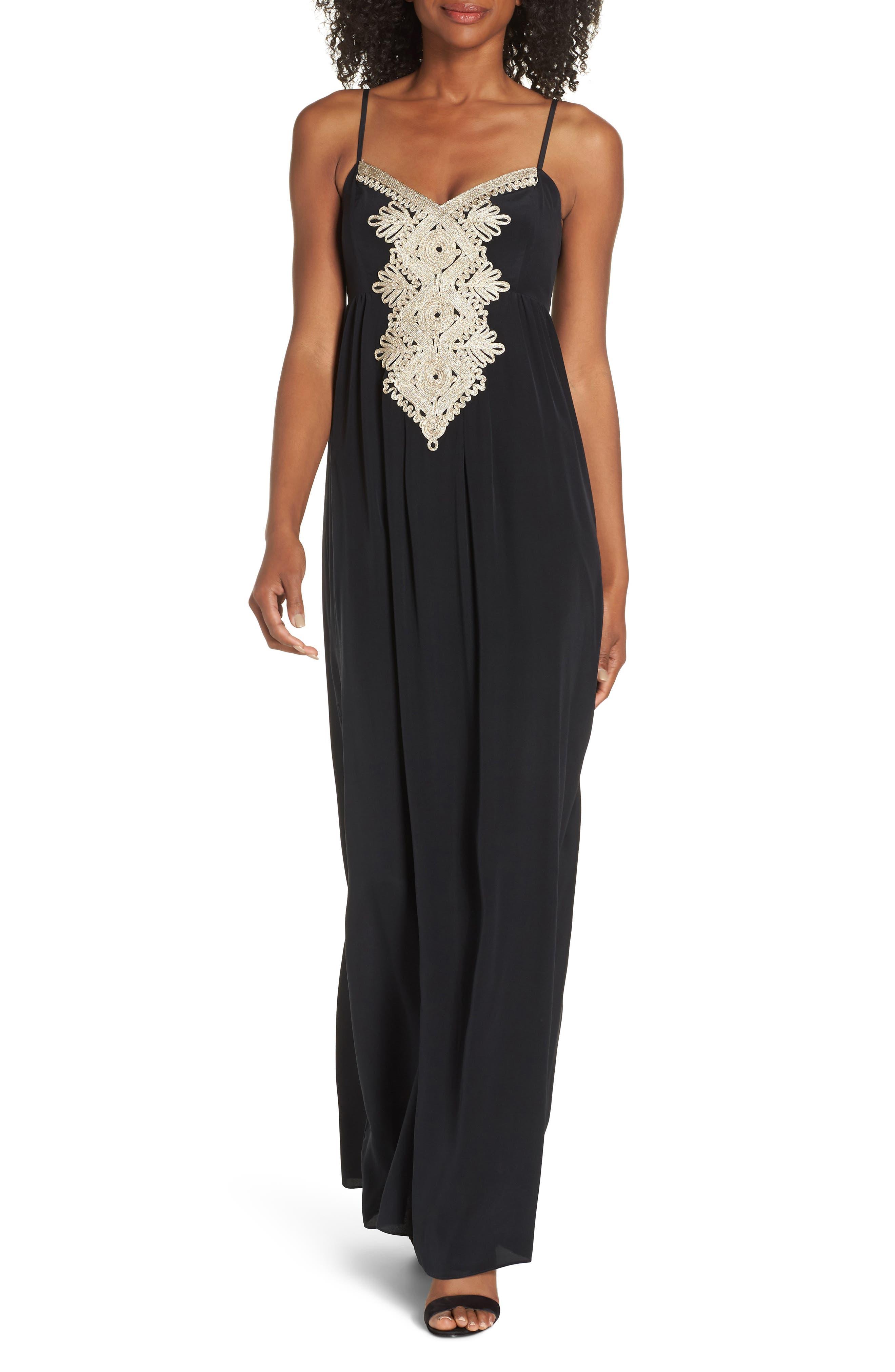 Lilly Pulitzer Kelsea Silk Maxi Dress, Black