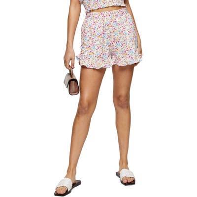 Topshop Frill Shorts, US - White