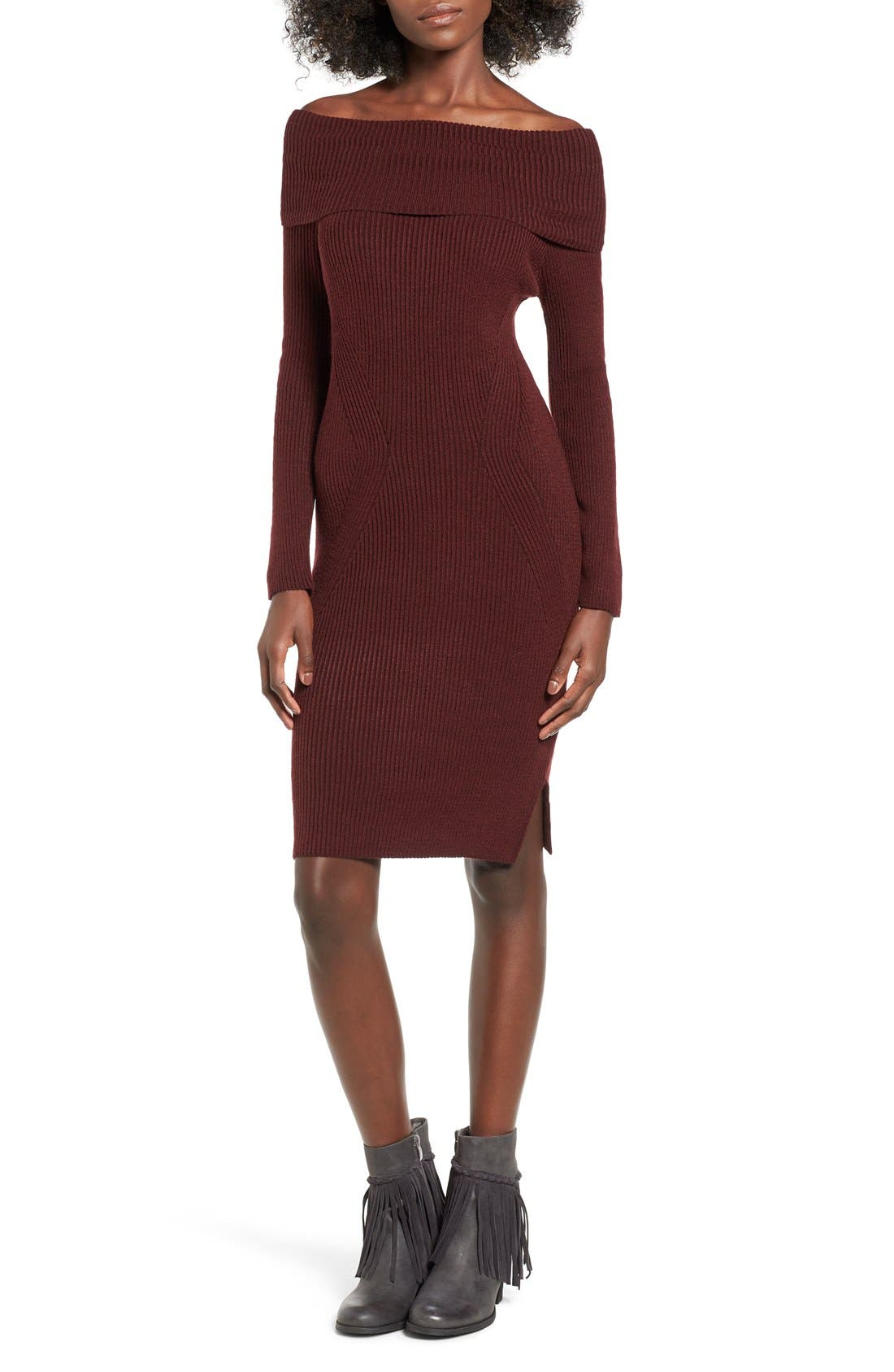 ,                             Off the Shoulder Knit Body-Con Dress,                             Main thumbnail 6, color,                             930