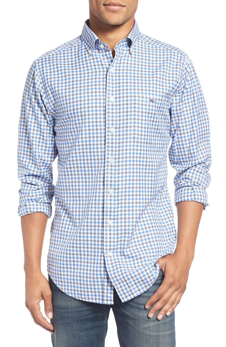 VINEYARD VINES 'Meadowbrook - Tucker' Slim Fit Gingham Plaid Sport Shirt, Main, color, 477