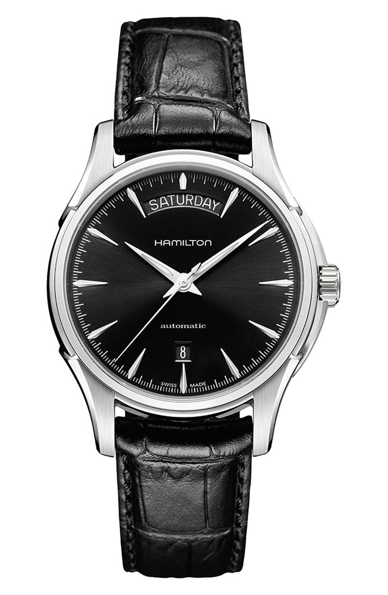 HAMILTON Jazzmaster Automatic Leather Strap Watch, 40mm, Main, color, BLACK/ SILVER