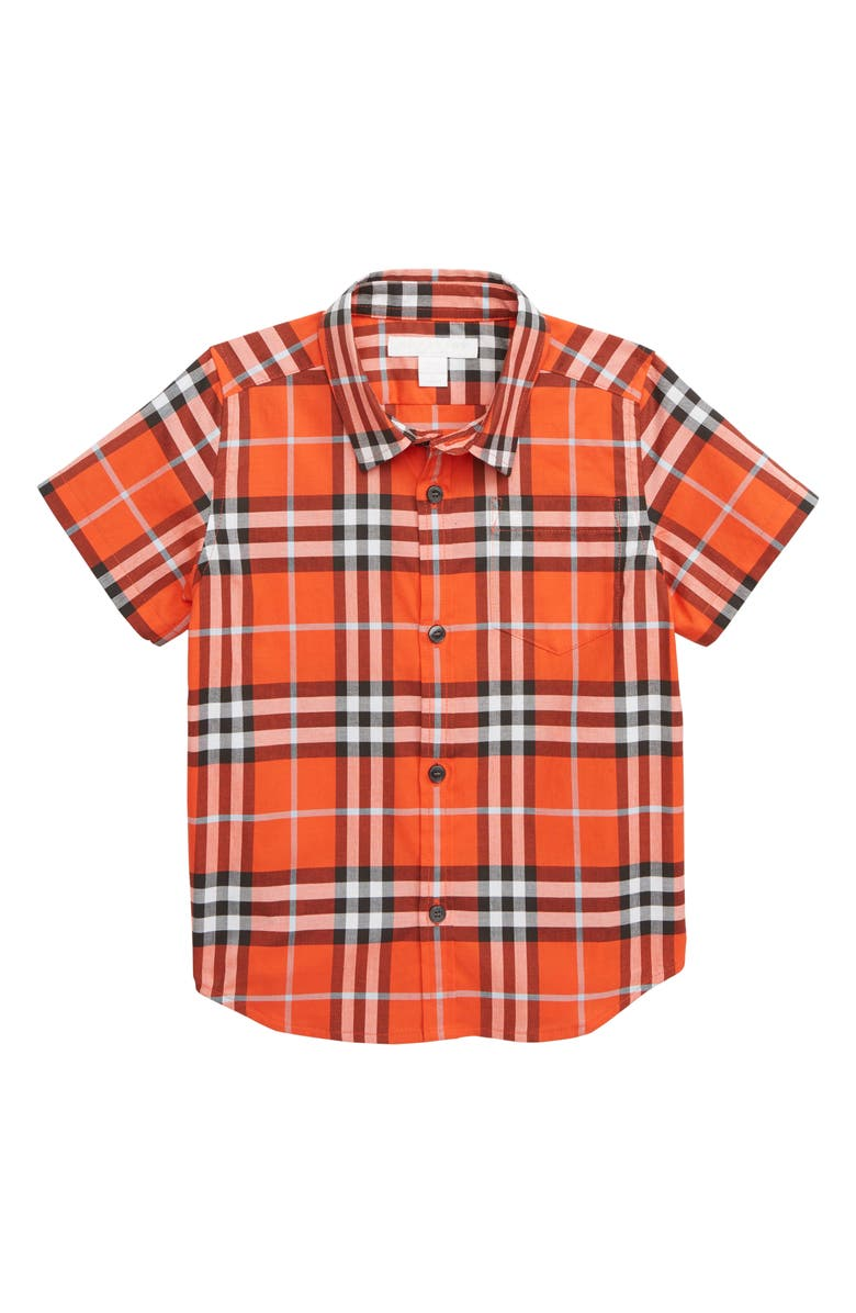 BURBERRY Fred Pocket Plaid Woven Shirt, Main, color, 800