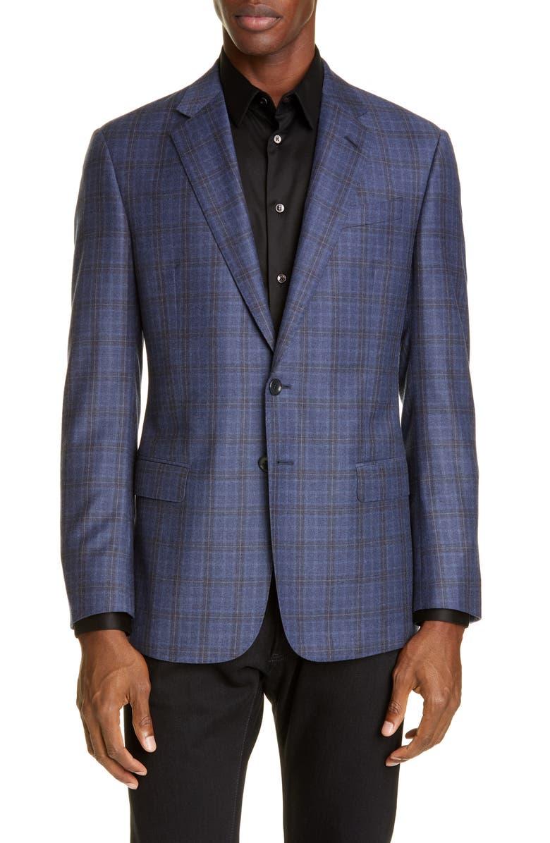 GIORGIO ARMANI Classic Fit Plaid Wool Sport Coat, Main, color, 422