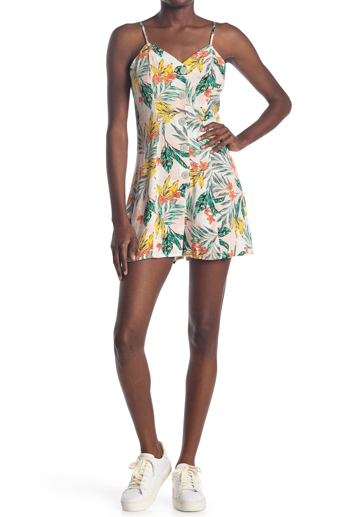 Image of Love, Fire Tropical Button Front Romper