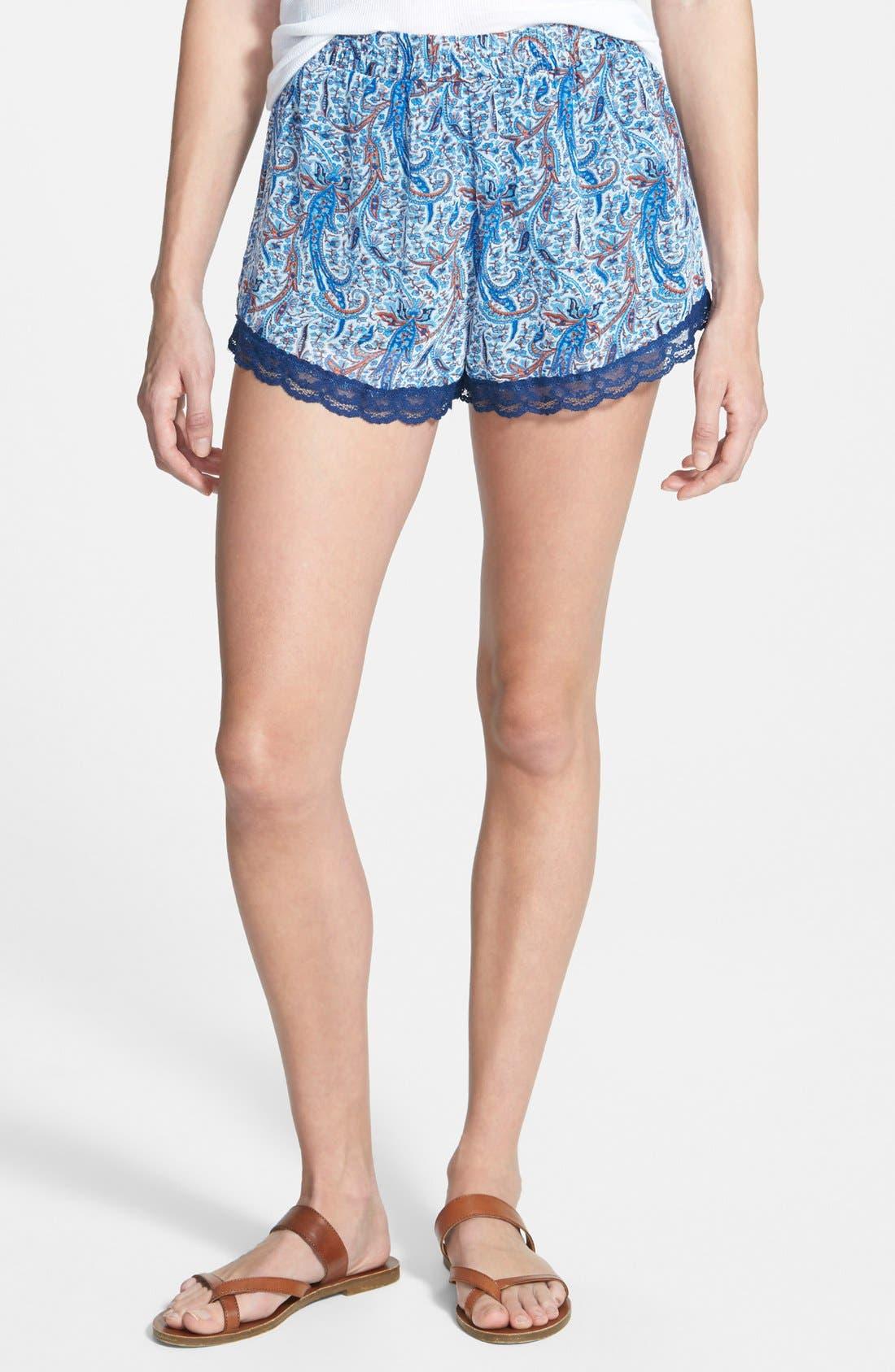 ,                             Lace Trim Floral Print Shorts,                             Main thumbnail 13, color,                             400