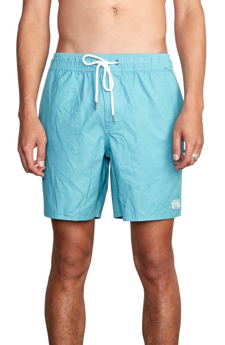 RVCA Opposites Solid Swim Trunks, Main, color, BERMUDA BLUE