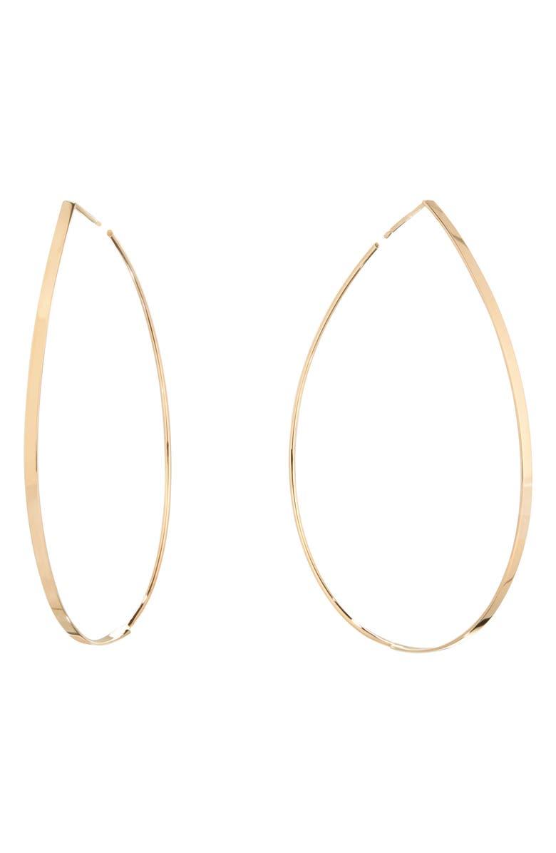 LANA JEWELRY Large Flat Teardrop Hoop Earrings, Main, color, 710