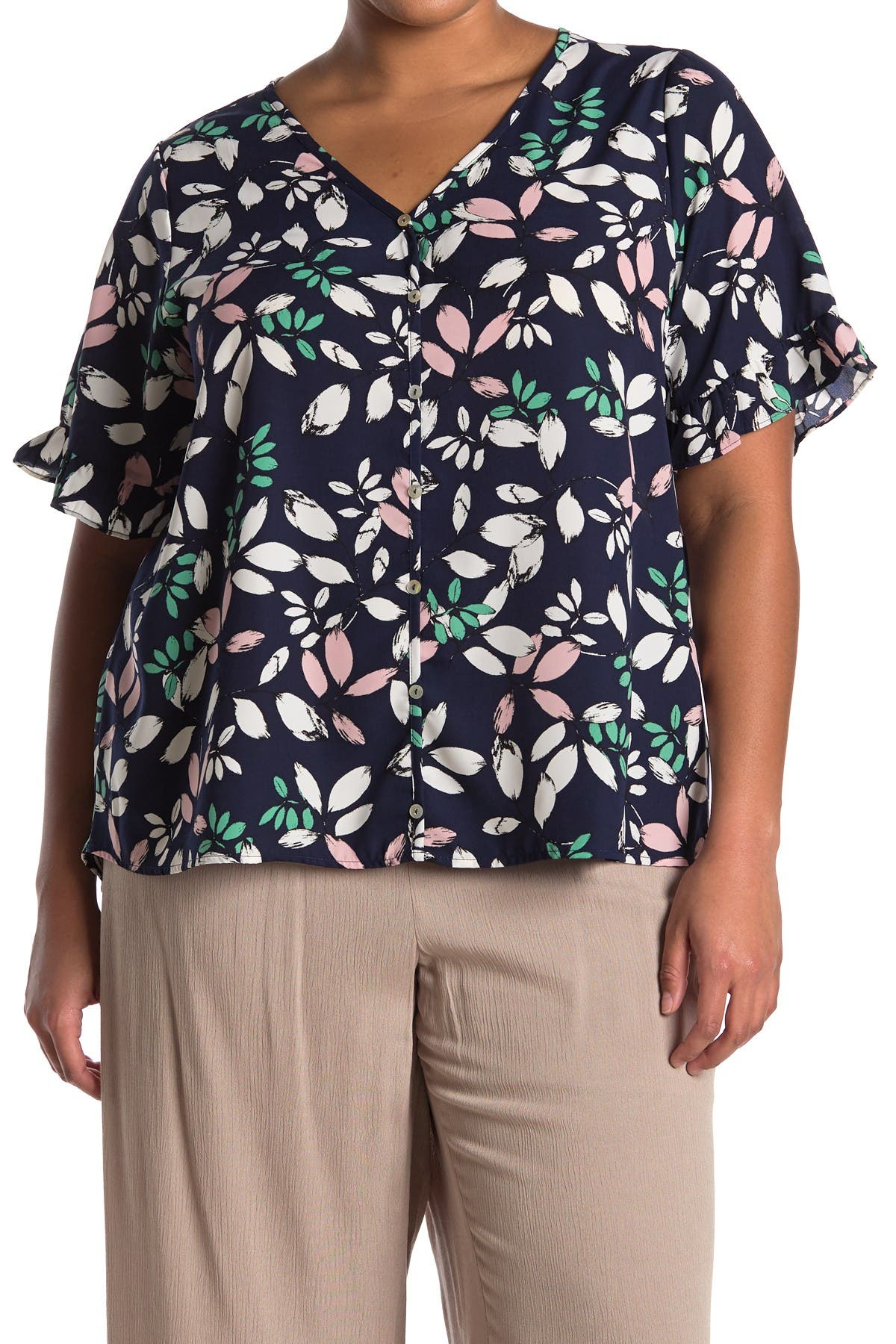 Image of TUA Printed Button Front Woven Top