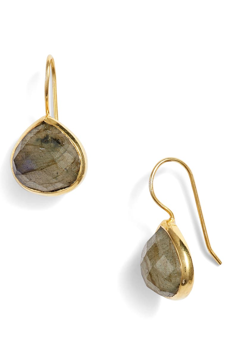 COLLECTIONS BY JOYA Turks and Caicos Stone Drop Earrings, Main, color, LABRADORITE