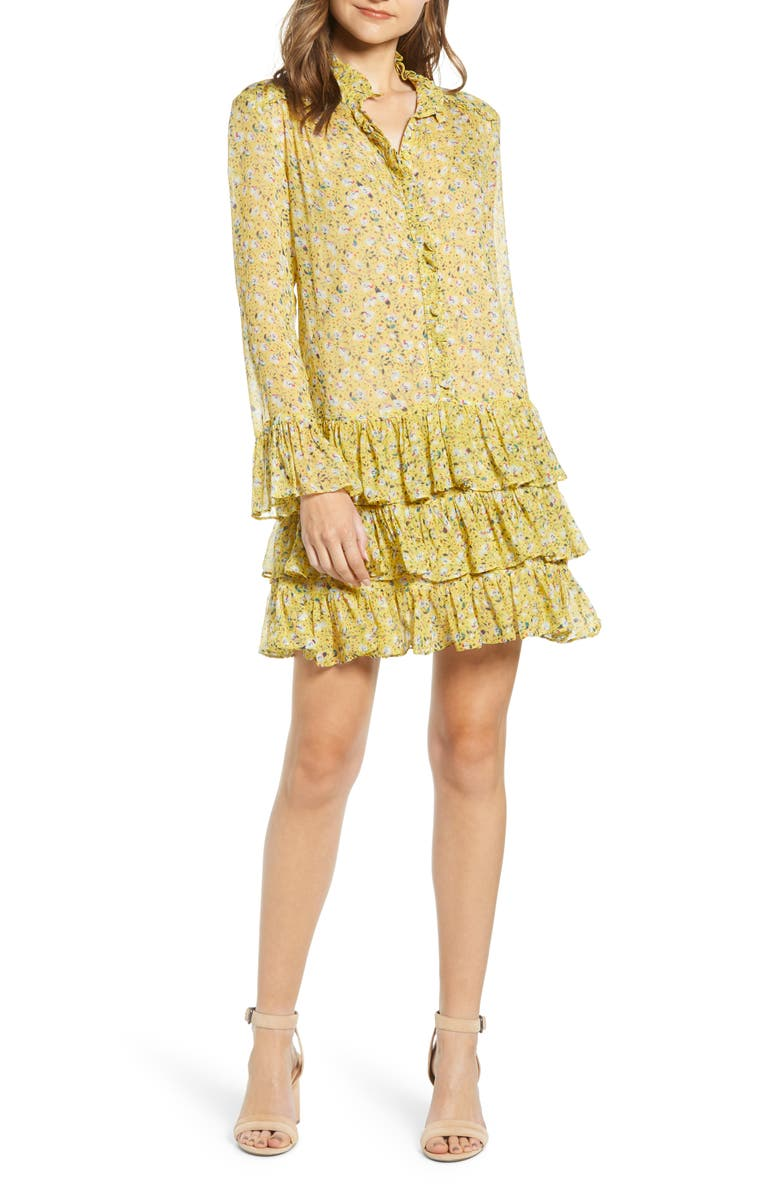 ZADIG & VOLTAIRE Rebbie Anemone Tiered Ruffle Long Sleeve Babydoll Dress, Main, color, BOUTON