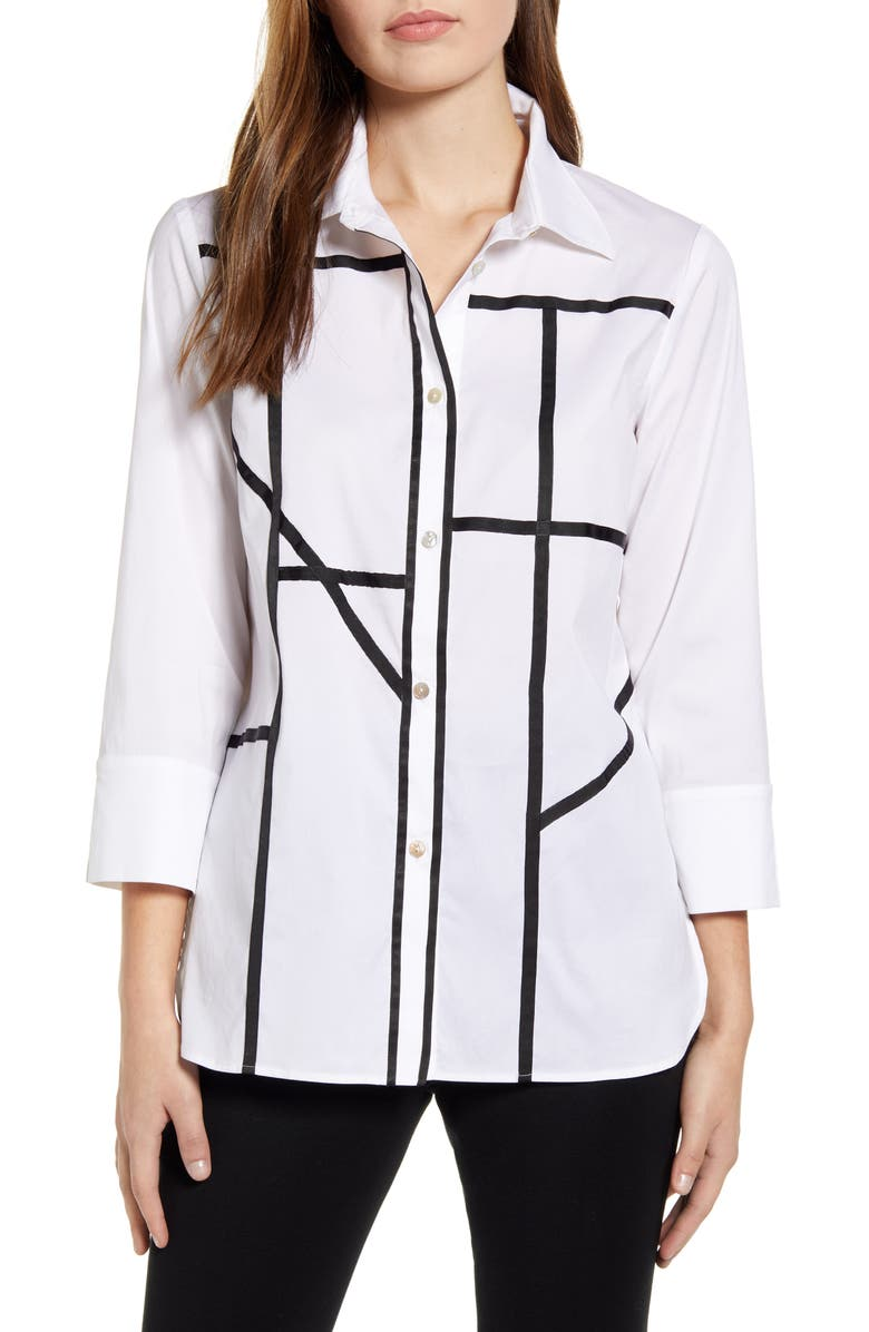 MING WANG Grosgrain Grid Cotton Blend Button Up Shirt, Main, color, WHITE/ BLACK