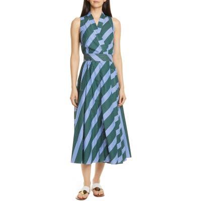 Tory Burch Multistripe Back Tie Cotton Wrap Dress, Blue