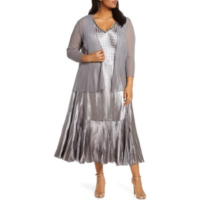 Plus Size Komarov Embellished Midi Dress With Jacket, Beige