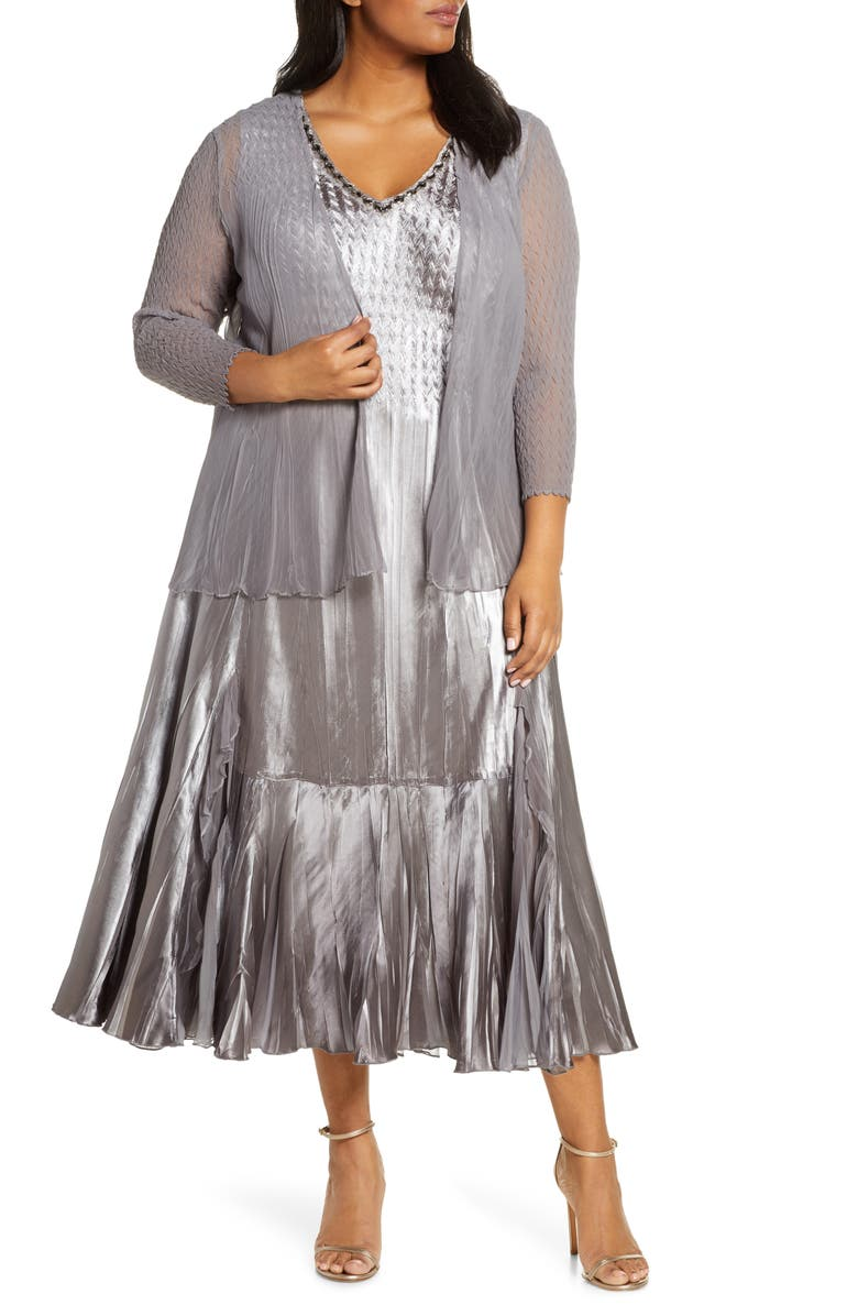 KOMAROV Embellished Midi Dress with Jacket, Main, color, OYSTER SMOKE OMBRE