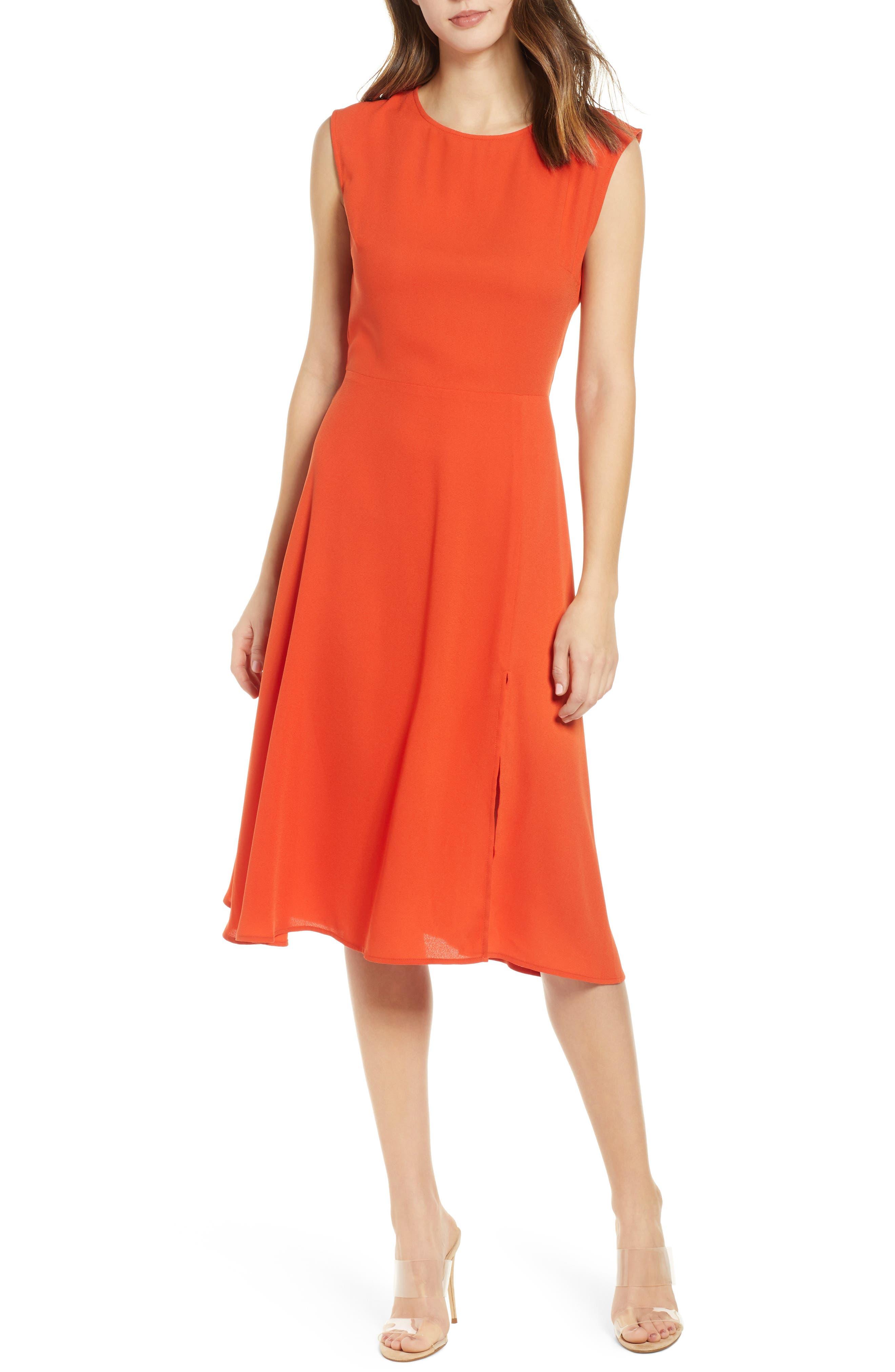 Leith Chic Midi Dress, Orange