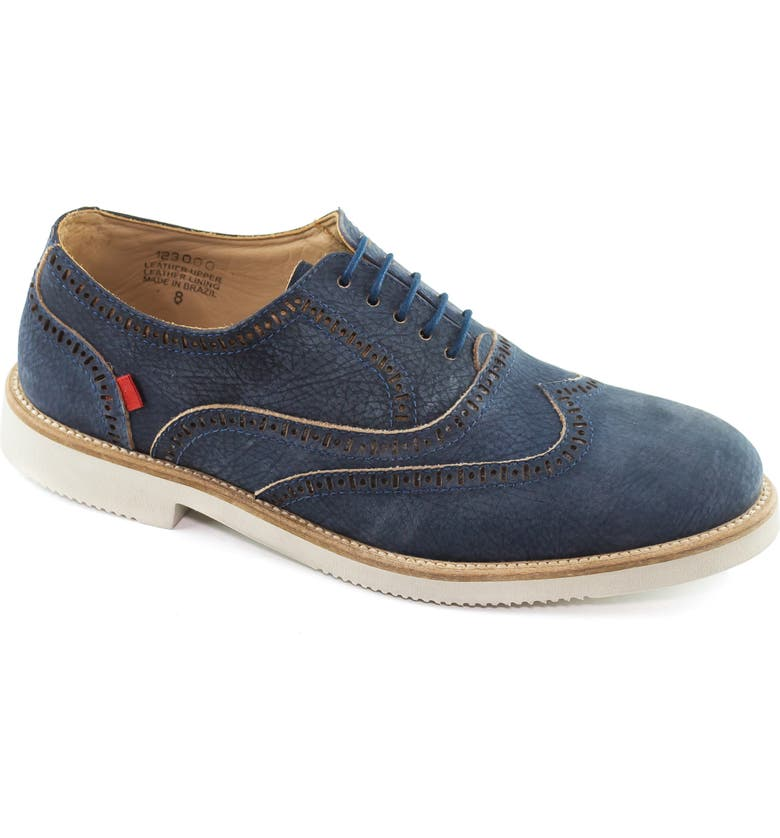 MARC JOSEPH NEW YORK Spring Street Pebbled Wingtip Oxford, Main, color, NAVY LEATHER