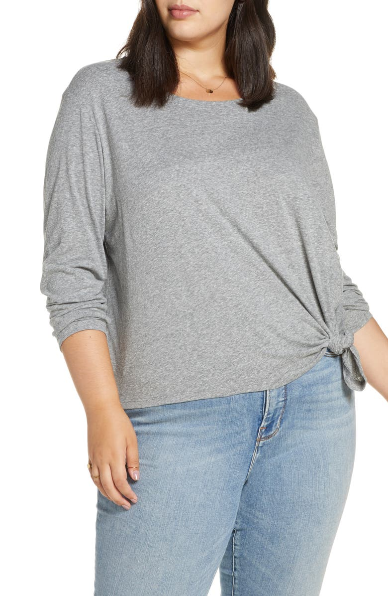 BP. Knotted Long Sleeve Tee, Main, color, GREY CLOUDY HEATHER