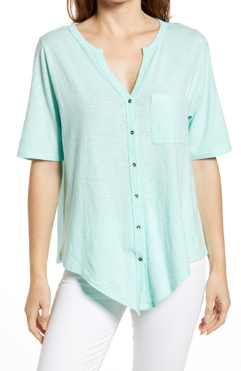 CASLON<SUP>®</SUP> Tie Front Tee, Main, color, GREEN YUCCA