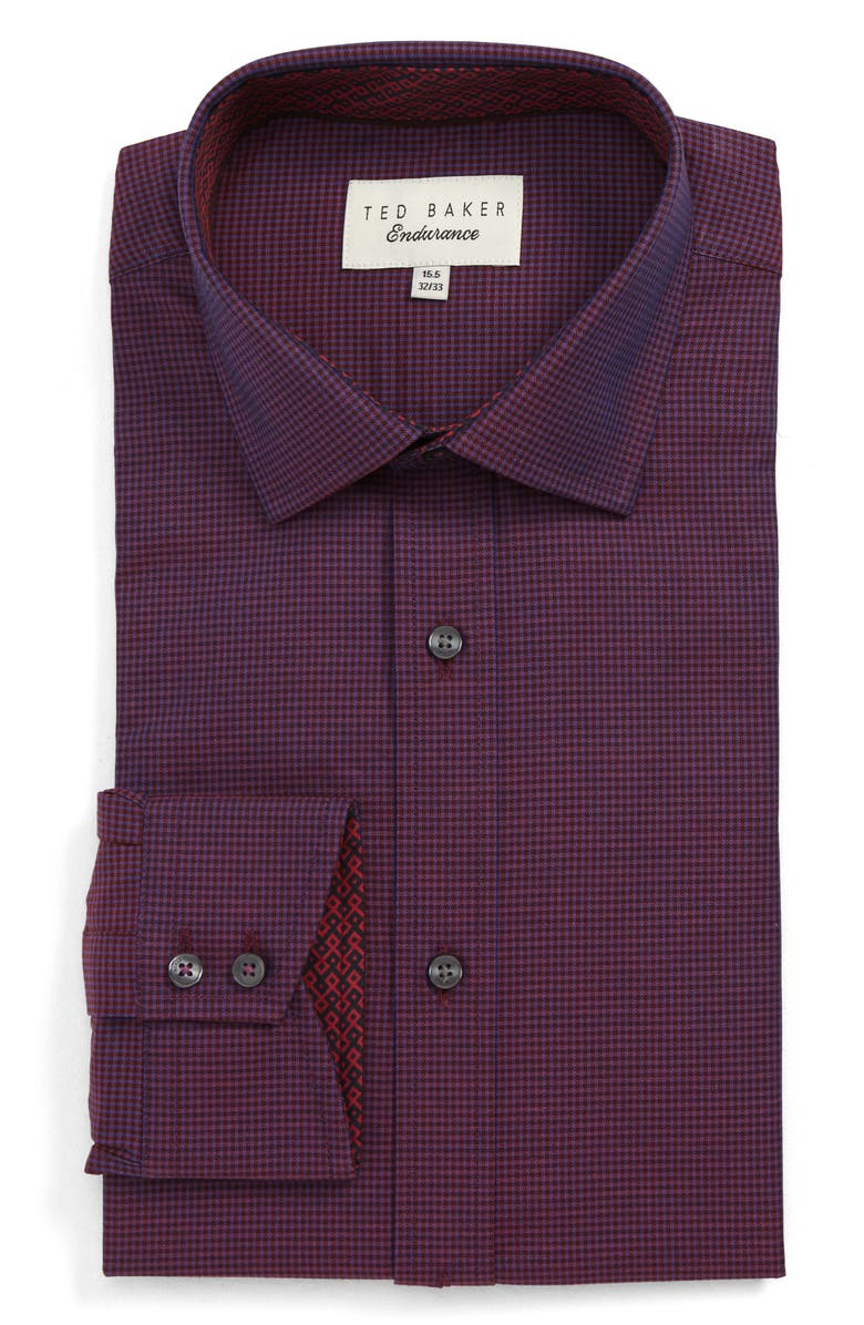 TED BAKER LONDON Trim Fit Check Dress Shirt, Main, color, 660