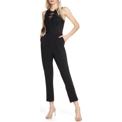 Harlyn Embroidered Lace Jumpsuit, Black