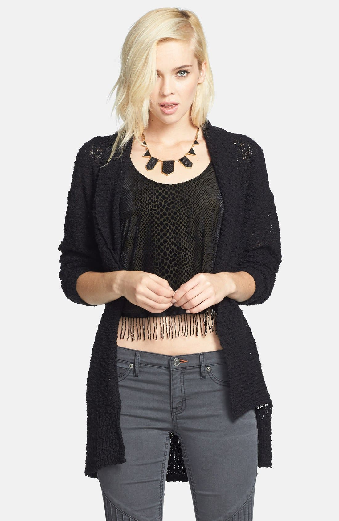 ,                             Textured Open Front Cardigan,                             Main thumbnail 1, color,                             001