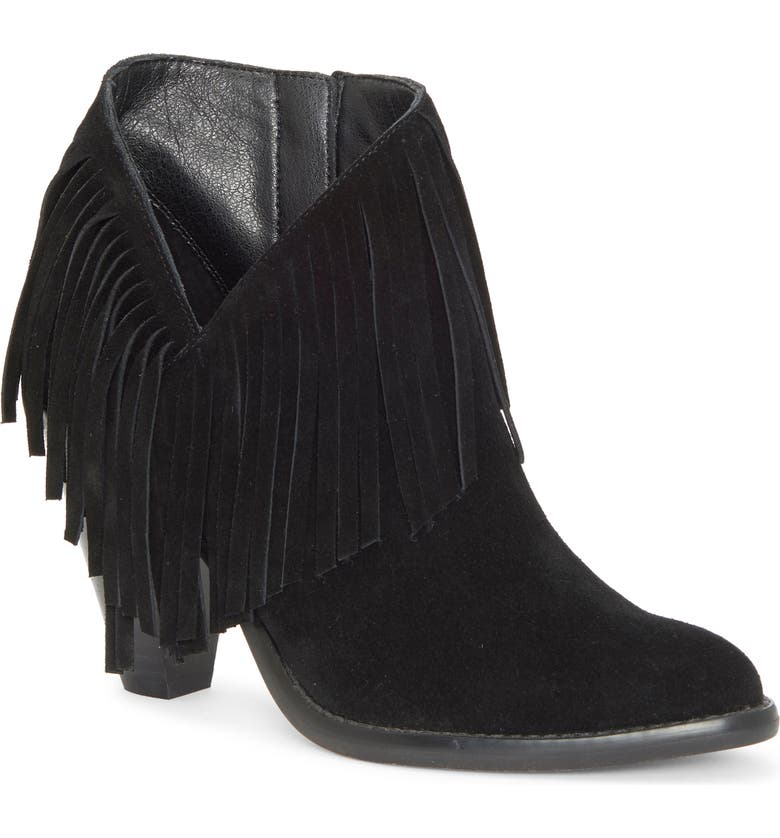 JESSICA SIMPSON Jewles Fringe Bootie, Main, color, BLACK/ BLACK FAUX LEATHER