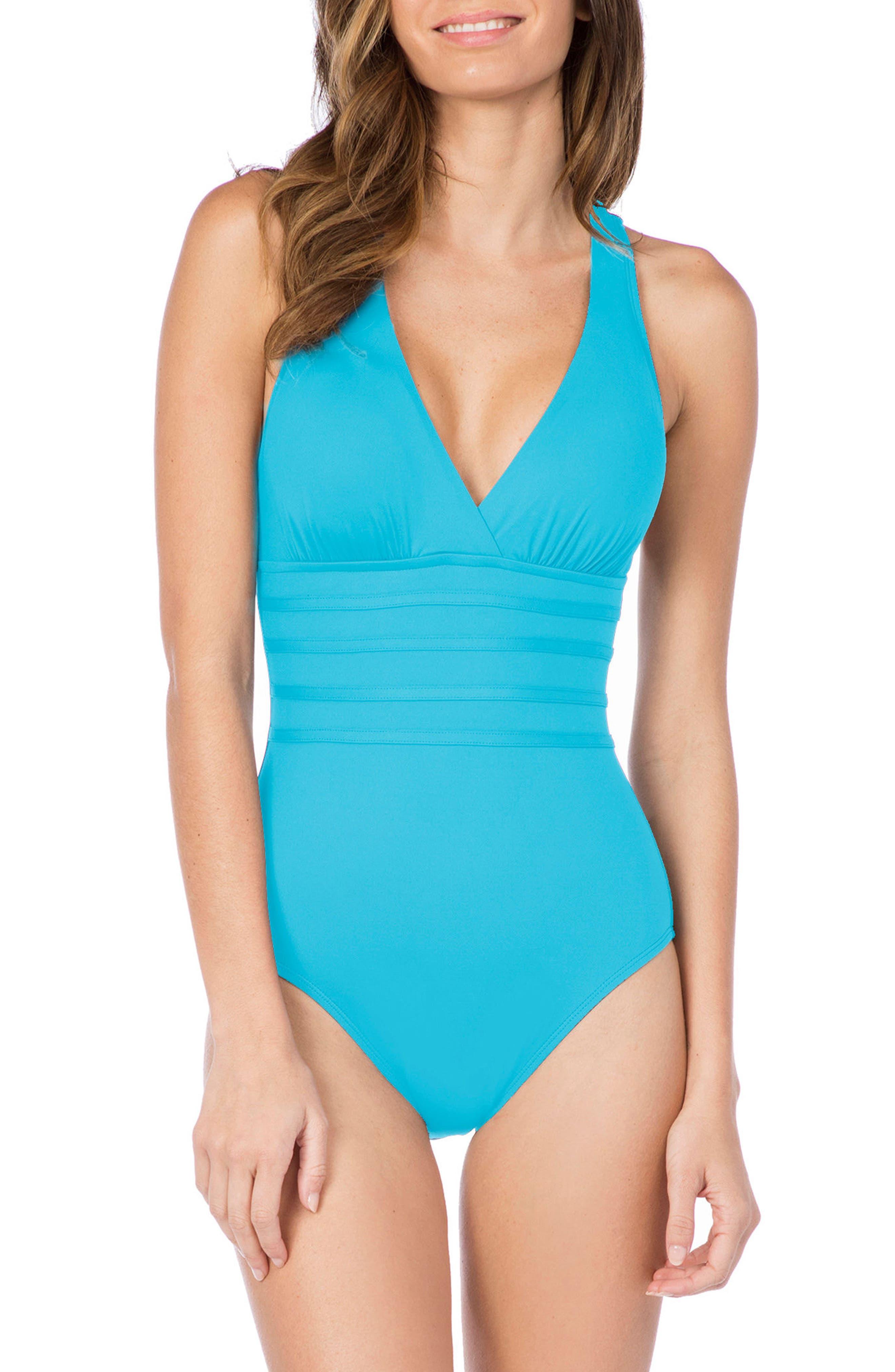 La Blanca Cross Back One-Piece Swimsuit, Blue