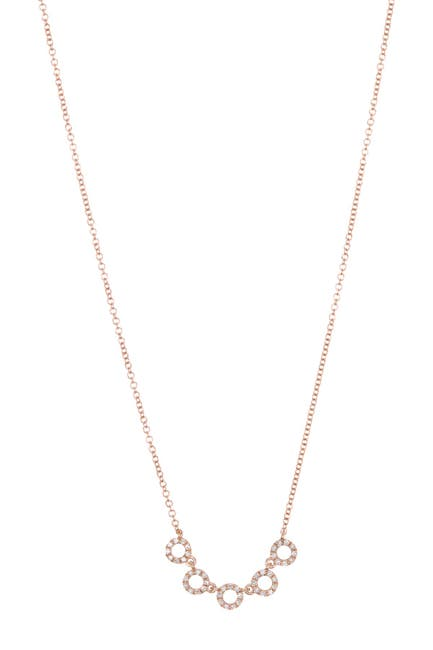 Image of EF Collection 14K Rose Gold Diamond Pave Circle Collar Necklace - 0.16 ctw