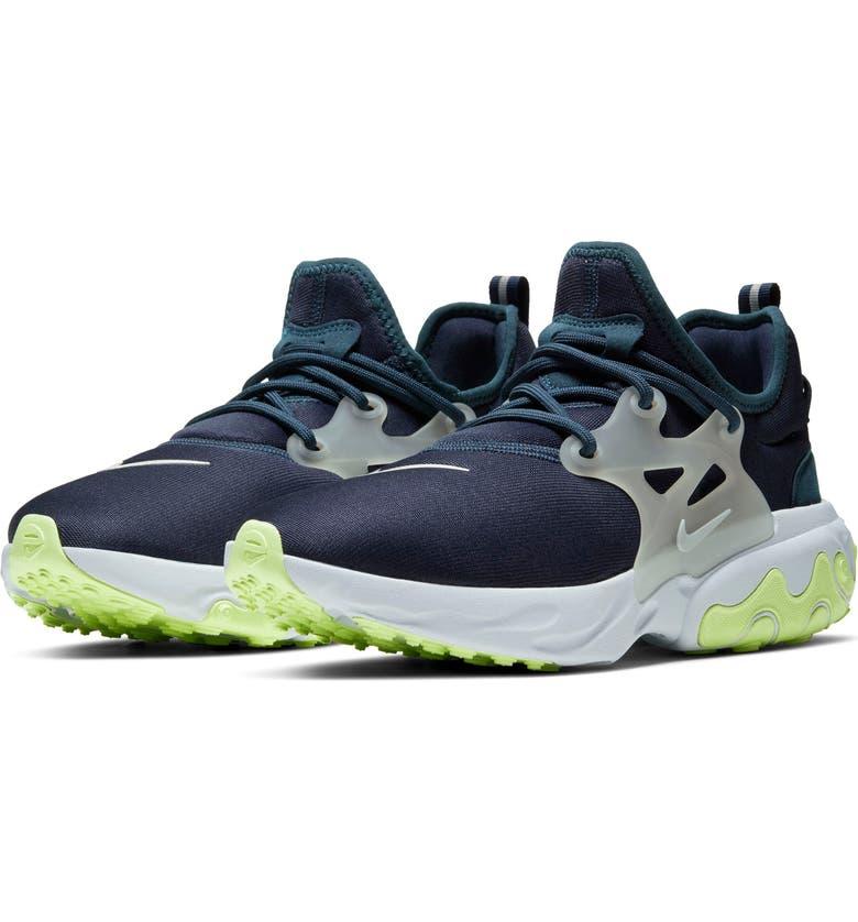 NIKE Presto React Sneaker, Main, color, OBSIDIAN/ SILVER/ PLATINUM
