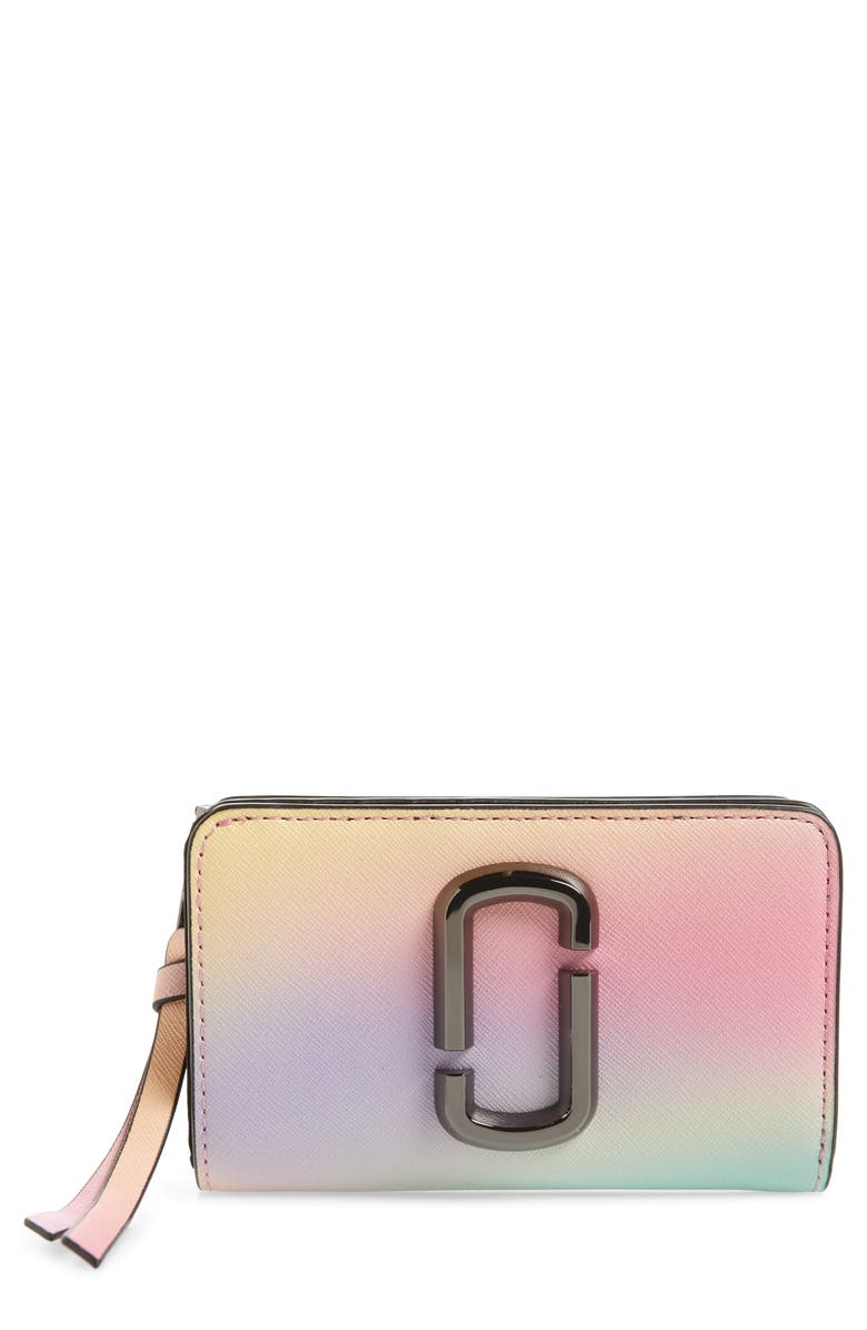 THE MARC JACOBS Snapshot Leather Compact Wallet, Main, color, WHITE