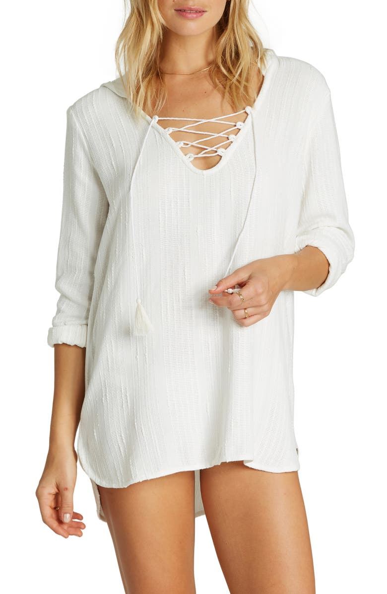 BILLABONG Same Story Hooded Cover-Up Tunic, Main, color, SEASHELL