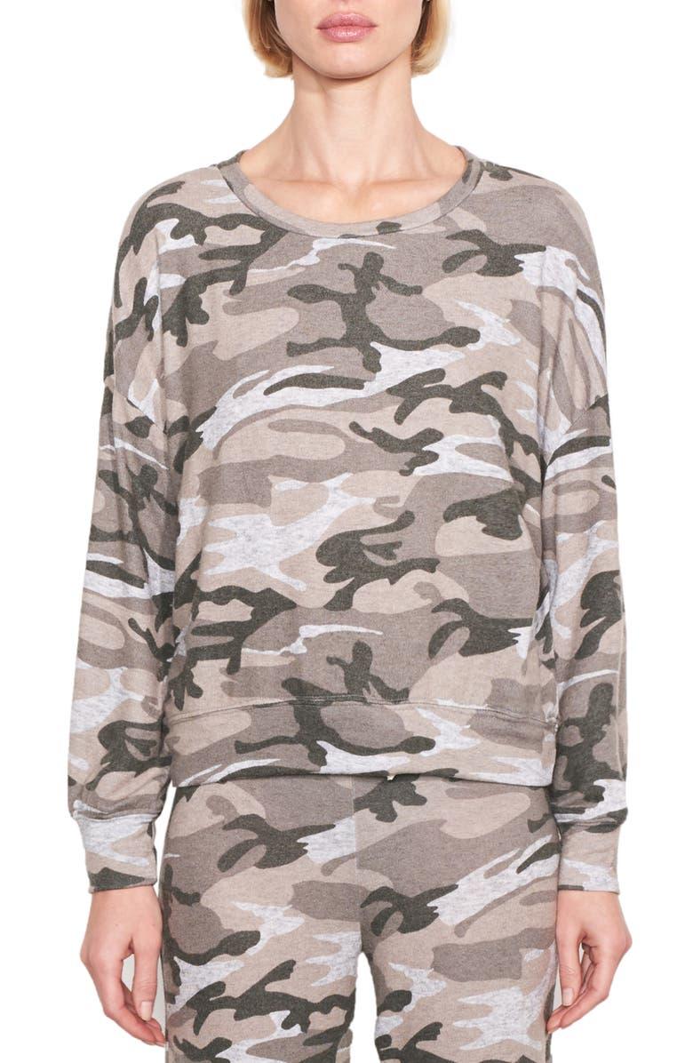SUNDRY Camo Sweatshirt, Main, color, HEATHER GREY