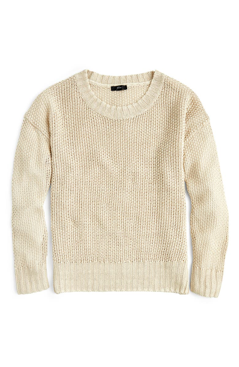 J.CREW Crewneck Beach Sweater, Main, color, FLAX