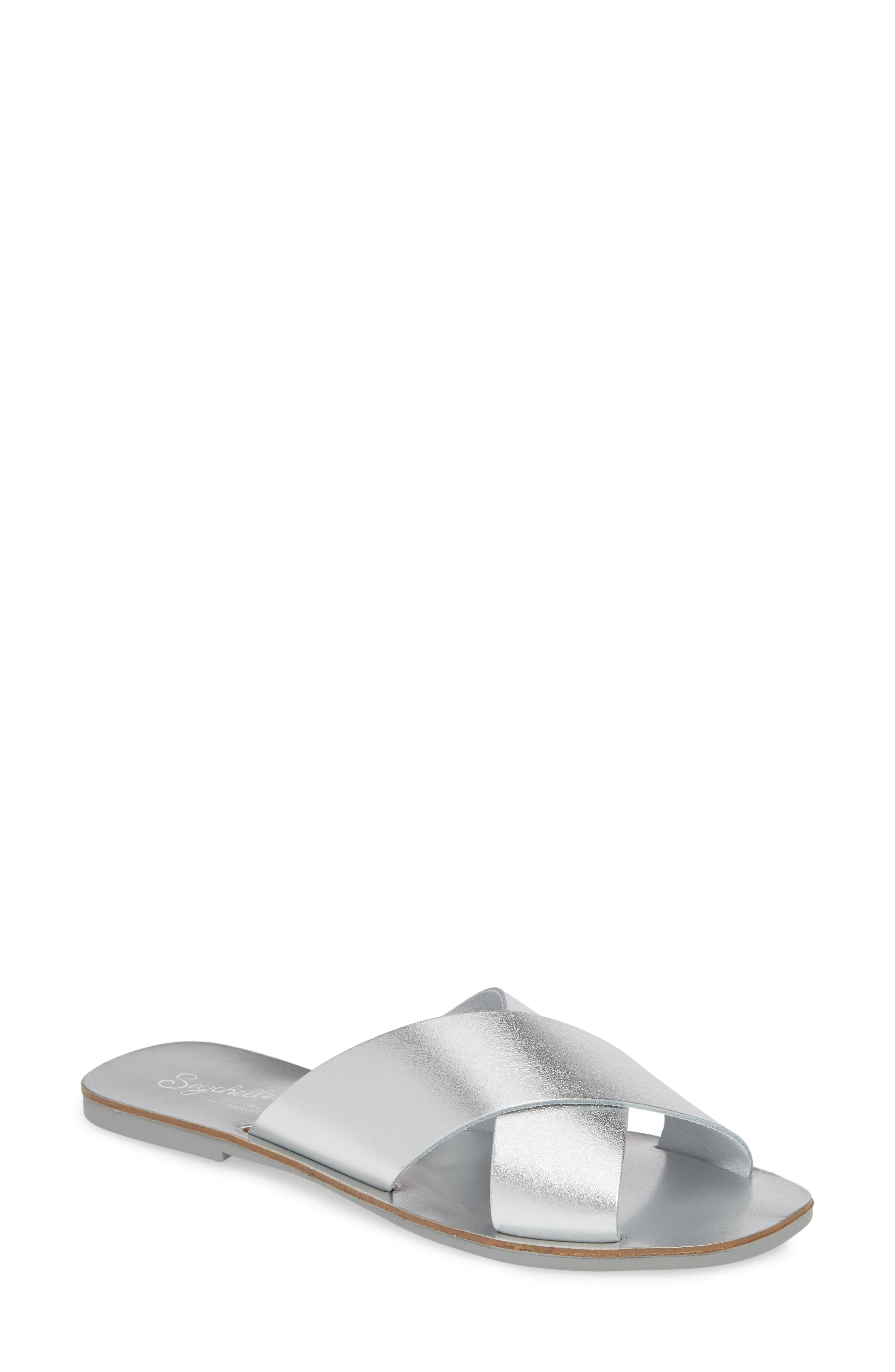Total Relaxation Slide Sandal, Main, color, SILVER LEATHER