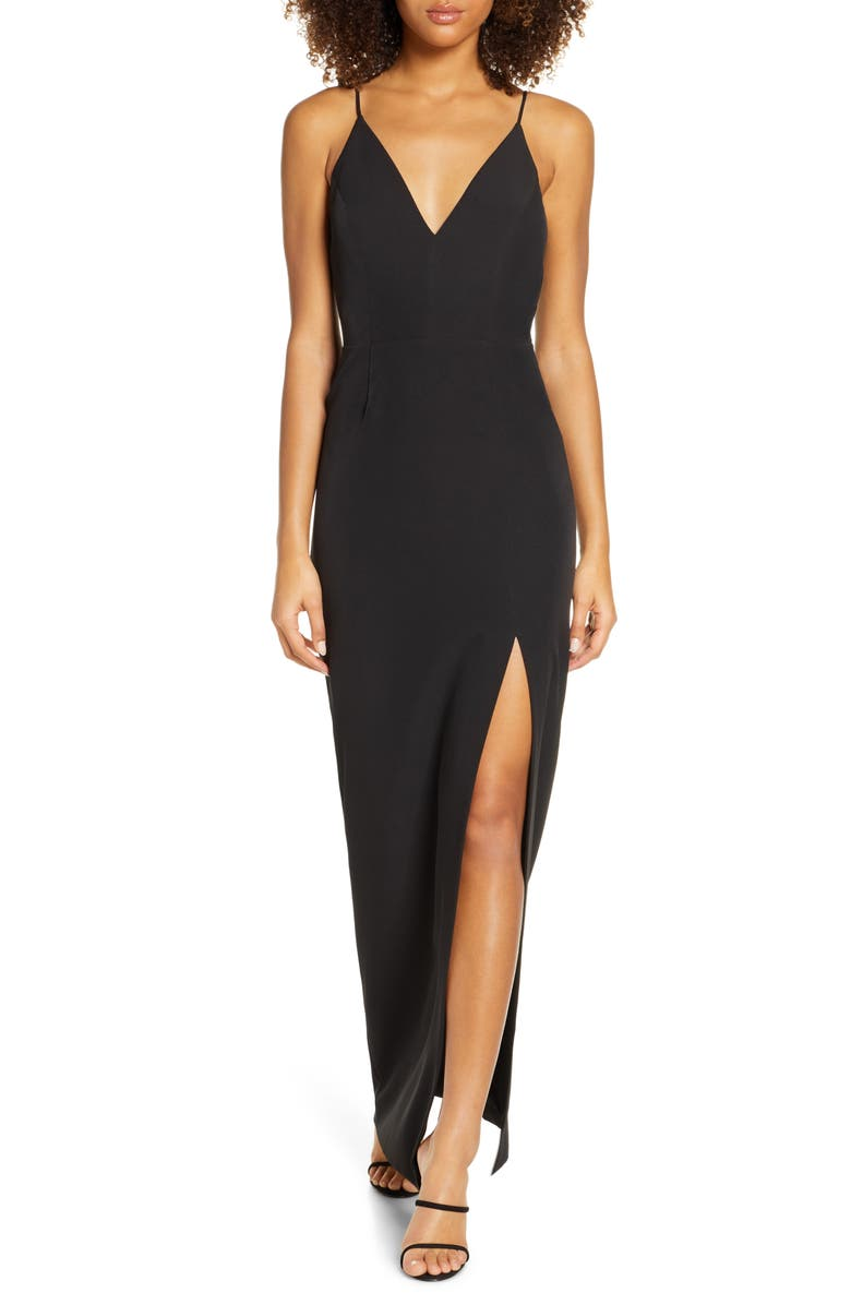 WAYF The Maisle V-Neck Scuba Crepe Evening Dress, Main, color, BLACK