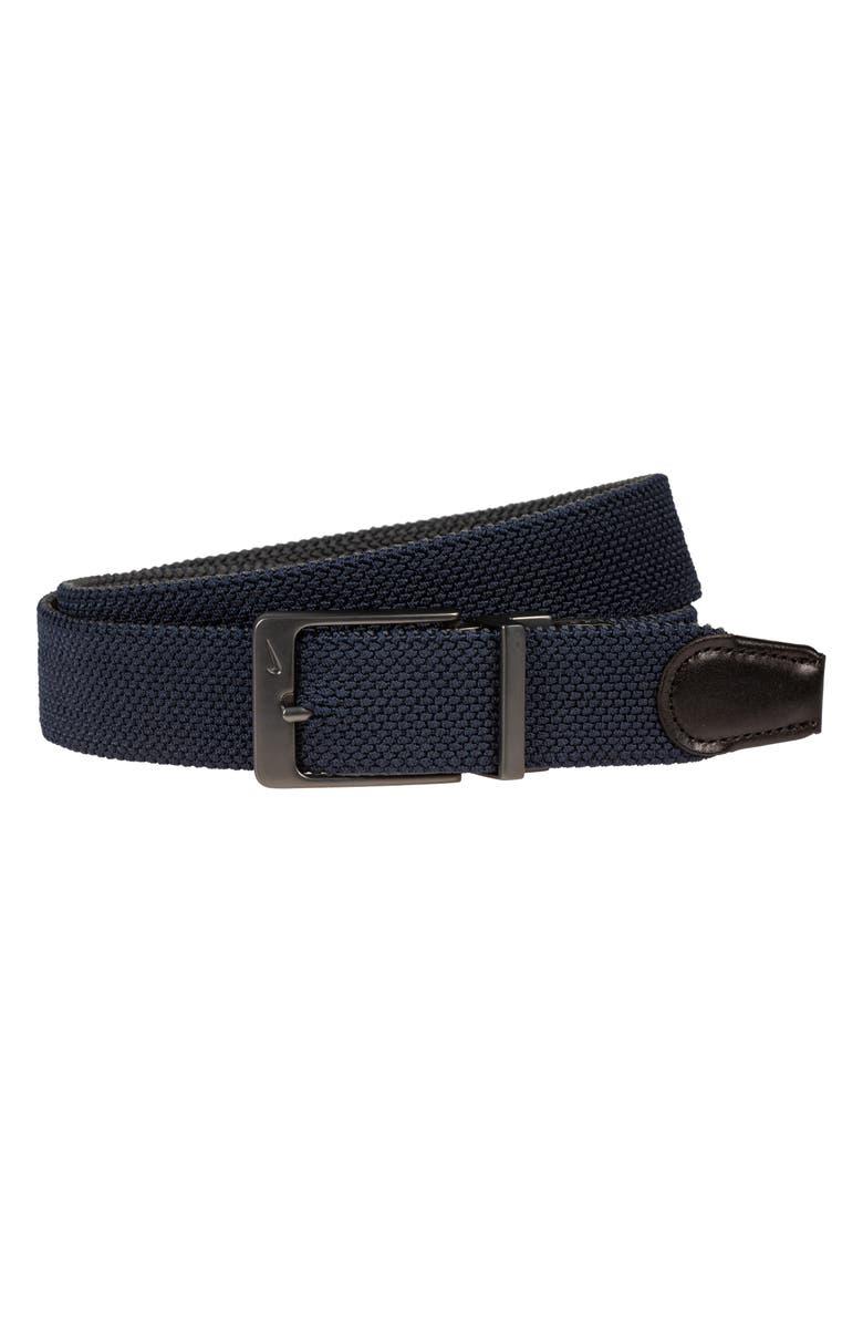 NIKE Reversible G-Flex Woven Belt, Main, color, NAVY DARK