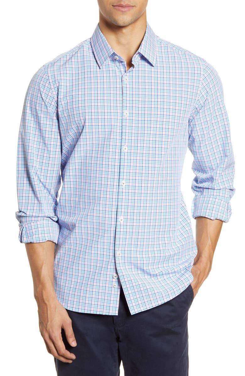 MOVE PERFORMANCE APPAREL Plaid Button-Up Shirt, Main, color, PINK